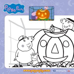 Pipsa Possu Halloween puuha - värityskuva.