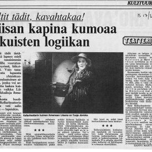 Tuuja Jänicke Liisa Ihmemaassa -näytelmän pääosassa maaliskuussa 1982. Kellariteatteri. Vilppu Kiljunen esitti näytelmässä useita rooleja, mm. Hullua jänistä, hänet mainitaan tässä kritiikissä nimeltä. Kritiikki: Hannu Marttila.