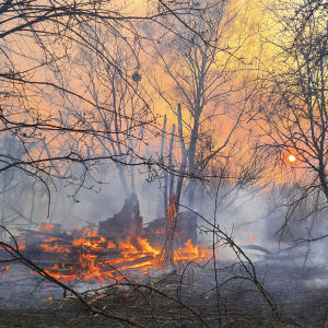 Eldsvåda i terrängen nära Tjernobyl.