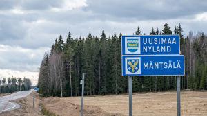 Seututie 140 Uudenmaan rajalla Mäntsälässä 23.3.2020.