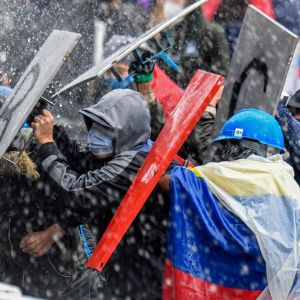 Mielenosoitus Bogotassa, Kolumbiassa.