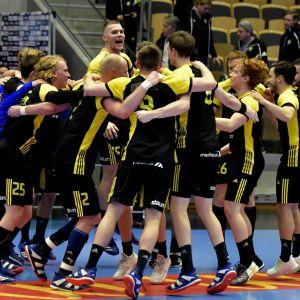 IK Sävehof jublar i svenska handbollsligan.