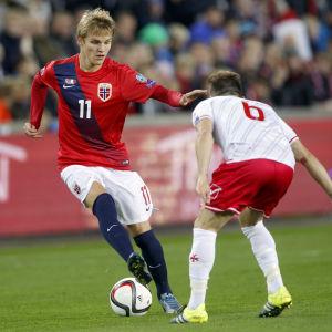 Martin Ødegaard debuterade i herrlandslaget under EM-kalet.