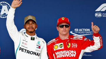 Kimi Räikkönen och Lewis Hamilton efter kvalet i Austin.