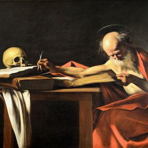 Sankt Gerolamo läser och antecknar.