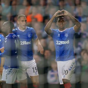 Rangers Alfredo Morelos firar sitt andra mål i matchen mot FC Midtjylland.