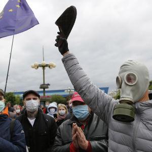 Demonstration i Minsk mot president Aleksandr Lukasjenko.