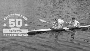 Kurt Wires och Yrjö Hietanen under OS 1952, med logon för Svenskfinlands 50 största idrottshjältar.