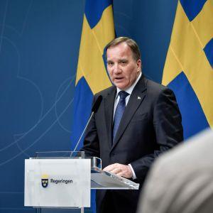 En man i blå kostym står bakom ett podium med Sveriges flagga i bakgrunden. Snett framför honom står en person med ryggen mot kameran i vit skjorta.
