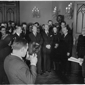 23.3.1940 Presidentin vastaanotto ulkolaisille sanomalehtimiehille.