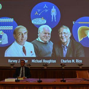 En bild på de trä män som fick Nobelpriset i medicin. Fotografiet syns på en skärm vid kunngörandet.