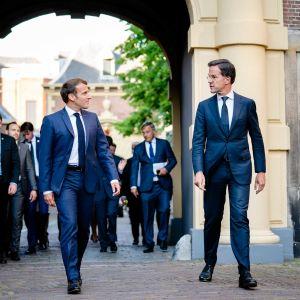 Nederländernas premiärminister Mark Rutte och president Emmanuel Macron.