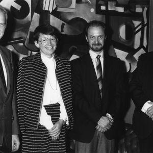 Ryhmäkuva konferenssissa, Jussi Huttunen, Eeva Kuuskoski, Kimmo Leppo