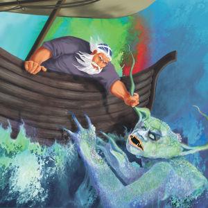Maalauksessa veneessä oleva mies pitää vedestä nousevaa hirviötä päästä.