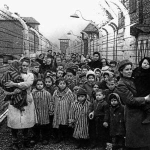 Barn och sjukvårdspersonal i Auschwitz-Birkenau samma dag som Röda armén intog lägret 27.1.1945.