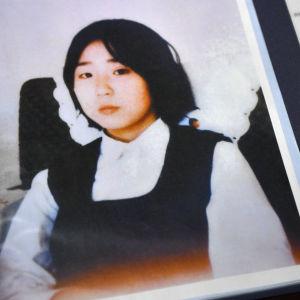 Fotografi av den till Nordkorea kidnappade japanska Megumi