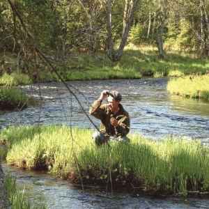 Markku Kuha istuu kyykkyasennossa mättäällä, joka on keskellä pientä jokea. Aurinko valaisee erämaisen jokimaiseman.