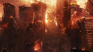Skyskrapor splittras och bilar flyger upp i luften då utomjordingar anfaller.