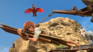 En animerad Robinson Crusoe med sin papegoja 2016.