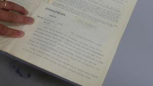 ett gammalt dokument från 1952 som riktar sig till Karis köpingsstyrelse.