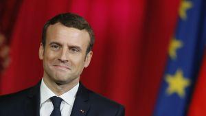 Emmanuel Macron under sin installationsceremoni den 14 maj 2017