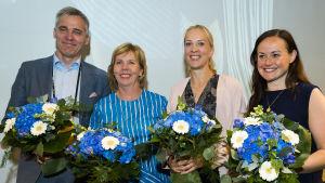 Från vänster: vice ordförande Anders Adlercreutz, ordförande Anna-Maja Henriksson, vice ordförande Sandra Bergqvist och vice ordförande Silja Borgarsdóttir Sandelin