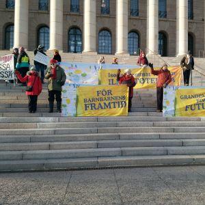 Helsigforsmormödrar demonstrerar mot klimatförändringen.