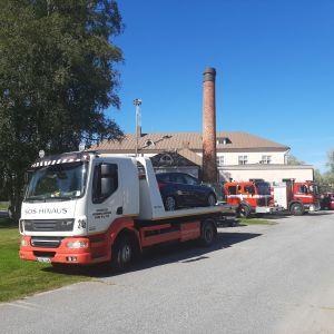 En bil körde ner i Kronoby å den 18 augusti 2020.