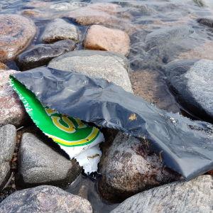 Plastskräp på stranden.