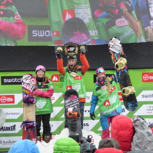 Mikaela Hollsten (t.h.) på prispallen i Andorra, januari 2016.