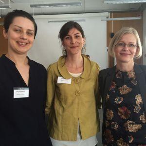 Minoritetsforskarna Magdalena Kmak, Camilla Haavisto och Pamela Slotte.