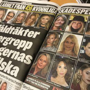 """Uppslag i tidningen Expressen med bilder på kvinnliga skådespelare och rubriken """"Larmet från 456 skådespelare""""."""
