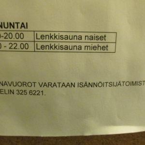 I Jyrkis husbolag ordnas gemensamma bastuturer på söndagarna och onsdagarna.