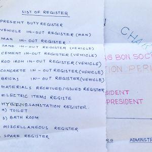 Intialaisen tyomaan ehdotetut rekisterit paperilla
