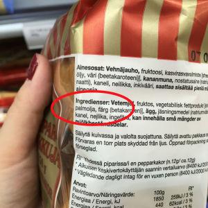 Innehållsförteckning på pepparakspaket
