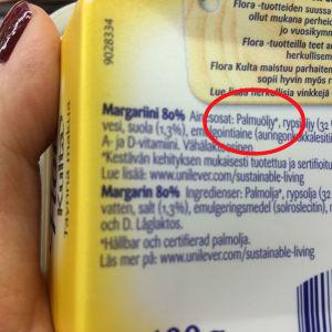 Innehållförteckning på margarinpaket