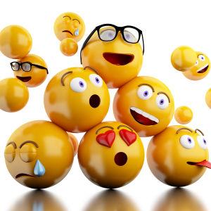 Flera olika emojier på varandra.