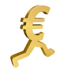 Ett eurotecken i guld med människoben.