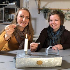 Lee Esselström ja Salla Heikkilä ovat koristaneet miniatyyrivalaisimen