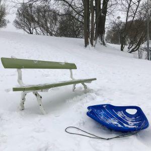 Parkbänk och pulka nedanför snöig backe.
