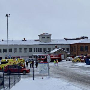 Brand vid gamla motorfabriken på Vasklot, Vasa.