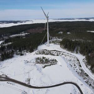 Flygfoto av jorddeponin vid Öjen, Vasa