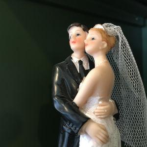 Hääkakun aviopari.