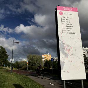 Kevyen liikenteen väylän opaste Oulussa.