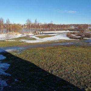 Onkilahden puisto, johon rakentuu paviljonki, skeittiparkki ja kuntoilualue.