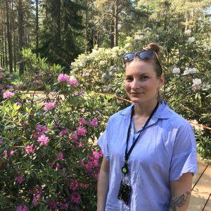 Maisema-arkkitehti Veera Sanaksenaho Tuiranpuiston alppiruusujen luona.