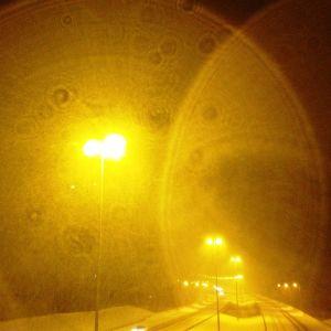 Motorväg och snöfall