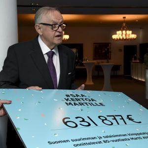 Konfliktlösningsorganisationen Crisis Management Initiative (CMI) fick in totalt över 630 000 euro i kampanjen Älä kerro Martille (berätta inte för Martti).