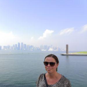 Lärare Johanna Winberg i Qatar.