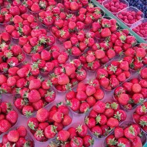 jordgubbar i plastaskar